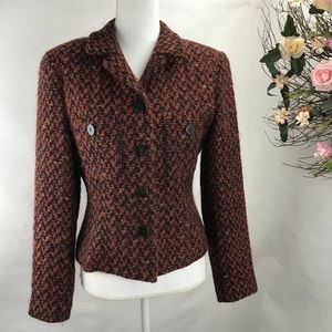 Neiman Marcus  Wool Blend Tweed Blazer Jacket Wine